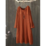 New              Plus Size Jacquard Crew Neck Vintage Knit Dress