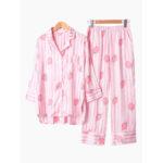 New              Long Sleeve Silky Lapel Button Down Stripe Printed Pajamas