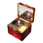 New              Hand Crank Rotating Dancers Ballerina Music Box Metal Antique Jewelry Box New Year Gift for Girl