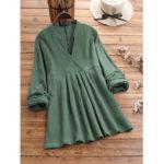 New              Plus Size Solid Color V-neck Vintage Cotton Blouse