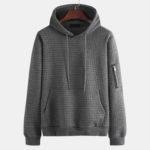 New              Mens Vintage Square Jacquard Pattern Hooded Sweatshirt