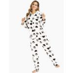 New              Front Zipper Hoodie Long Sleeve Flannel Print Pajamas