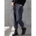 New              Women Solid Elastic Waist Corduroy Pocket Pants