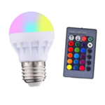 New              3W E27 RGB+White LED Globe Light Bulb + Remote Control for Indoor Home Bedroom Decor