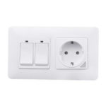 New              WiFi Smart Light Wall Switch Socket Outlet with 2 Gang Push Button Switch DE EU Smart Life Tuya Wireless Remote Control Work with Alexa Google Home
