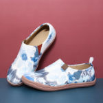 New              Women Flower Ink Painting Pattern Soft Slip On Casual Flats