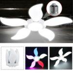 New              AC220V E26/E27 White Colorful Five-Leaves 140LED Garage Light Bulb Foldable Mining Workshop Supermarket Lamp