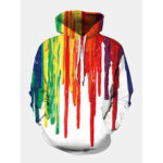 New              Mens Colorful Graffiti Printed Long Sleeve Pocket Casual Hoodies Sweaters