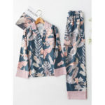 New              Magpie Printed Satin Long Sleeve Lapel Pajamas