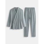 New              Men Polka Dot Kimono Robe Set Thin Loose Breathable Home Cas