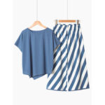 New              Cotton Short Sleeve O Neck Stripe Pants Loose Pajama Set