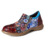 New              SOCOFY Women Retro Genuine Leather Flower Pattern Flats