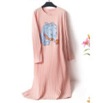 New              Cotton Cartoon Printed Textured Long Sleeve Nightgown