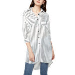 New              Leisure Cross Stripe Pockets Half Sleeve Women Blouse