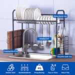 New              Shelf Dish Stainless Holder Steel Sink Drain Rack Kitchen Cutlery Drying Drainer Storage Rack