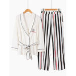 New              Cotton Kimono Stripe Printed Long Sleeve Casual Pajama Set