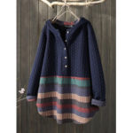 New              Vintage Jacquard Patch Print Button Long Sleeve Sweatshirts