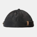 New              Mens Polyester Adjustable Solid French Brimless Hat