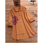 New              Plus Size Flower Print Lapel Long Sleeve Cotton Shirts