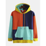 New              Men's Multi-color Patch Hooded Loose Trend Hip-hop Plus Cash