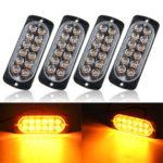 New              4PCS 36W 12 LED Ultra-thin Car Emergency Flashing Lights Flash Warning Strobe Lamp 12/24V Amber