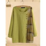 New              Button Plaid Patchwork Long Sleeve Plus Size Cotton Blouse