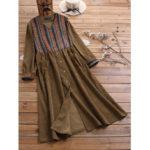 New              Plus Size Corduroy Striped Patchwork Button Vintage Dress