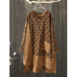 New              Corduroy Polka Dot Patchwork Irregular Vintage Dress