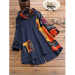 New              Plus Size Vintage Printed Patchwork Irregular Hooded Blouse