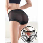 New              Hot Lace Embroidery Mesh See Through Mid Waist Briefs