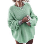 New              Solid Color Long Sleeve Women Causal Sweaters