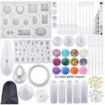 New              98Pcs/Set Pendant Trays Set DIY Jewelry Bezel Making Crystal Bracelet Pendant Silicone Resin Mould Jewelry Casting Molds Kit Vintage Base
