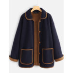 New              Wool Patchwork Turn-down Collar Plus Size Winter Coats