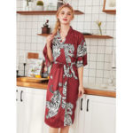New              Half Sleeve Tiger Printed Silk Kimono Robe Nightgown