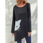 New              Irregular Cartoon Cat Print Long Sleeve Splited Blouse