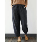 New              Plus Size Striped Elastic Waist Casual Pants with Pockets