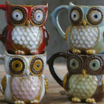New              Creative Colorful Ceramic Crafts Owl Shaped Cup Drinking Water Cup Ceramic Cup