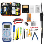 New              32PCS Adjustable Temperature Electric Soldering Iron Kit 110V 220V 60W Tips Heating Welding Tools with Multimeter