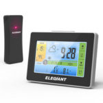 New              ELEGIANT Wireless Indoor Outdoor LCD Weather Station Clock Thermometer Hygrometer Monitor with Sensor