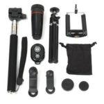 New              8X Telephoto Fisheye Lens bluetooth Selfie Shutter Stick Mini Tripod Set Kit for Smartphone Photography