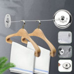 New              Stainless Steel Retractable Wall Hanging Clothesline Home Hotel Cloth Hanger
