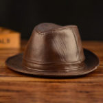New              Mens Leather Hat Cowhide Hat Outdoor Leather Hat