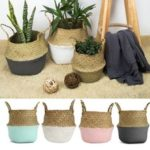 New              Foldable Rattan Straw Basket Flower Pot Hanging Wicker Storage Baskets Garden Accessories