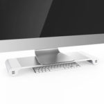 New              Aluminum Desktop Monitor Notebook Laptop Stand Non-slip Desk Riser with 4-ports USB charger for iMac, MacBook Pro, Air