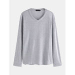 New              Mens Fashion V Neck Solid Color Long Sleeve Casual Tops
