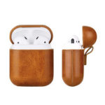 New              Mini Portable Protective PU Leather Cover Storage Case with Hook for Airpods1/2 Earphone