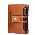 New              Men Genuine Leather Vintage Double Zipper Purse Wallet