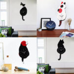 New              Lovely Animal Cat Dog Shaped Swinging Tail Pendulum Wall Clock Home Decor