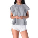 New              Women Lace Cap Sleeve Hollow Out Casual Loose Blouse