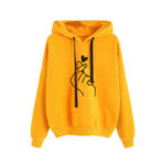 New              Print Love Drawstring Hooded Casual Sweatshirt